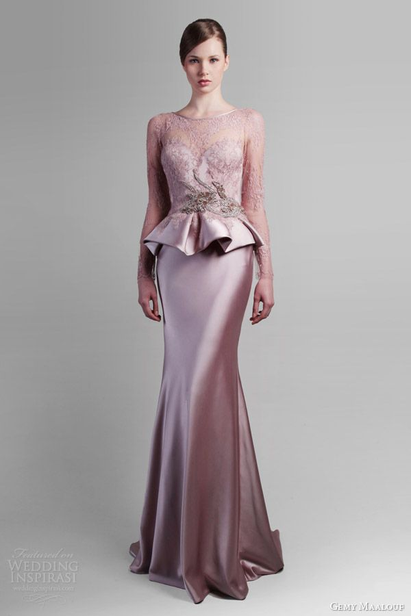 gemy maalouf spring 2014 long sleeve peplum gown a good choice for bridesmaids--with a couple alterations. I would choose a different color, though.