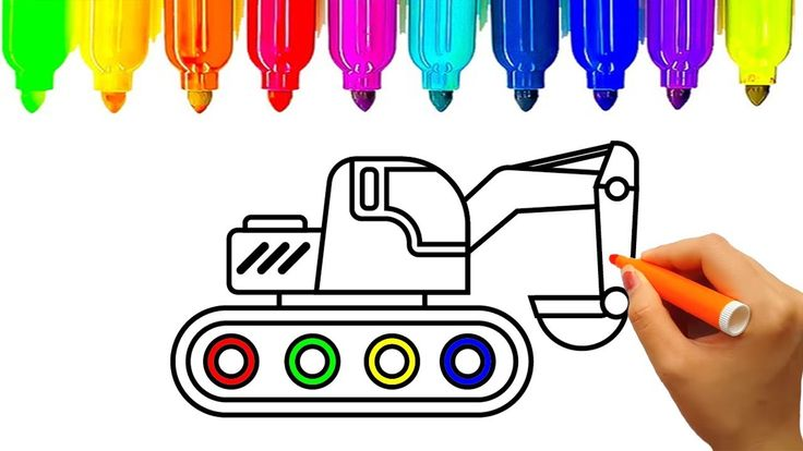 Construction truck coloring pages, Learn colors with excavator, Fun Colo...