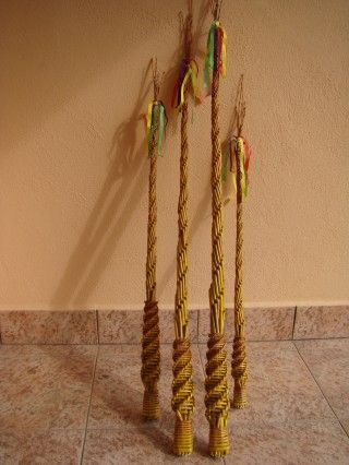 korbáč prútený - Slovak folk art - traditional whip made from weeping willow branches for Easter