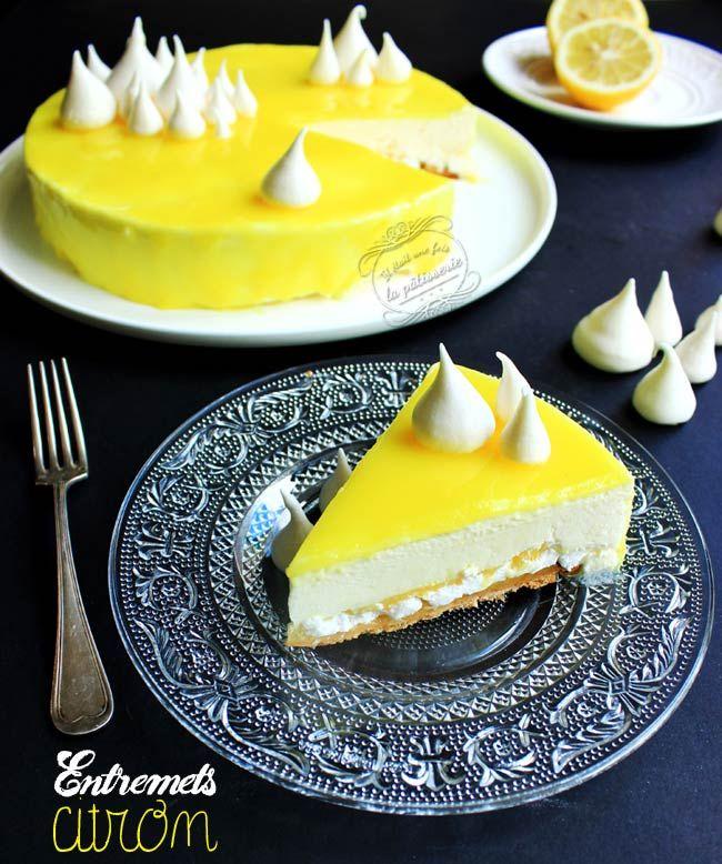 Entremets citron (pâte sablée, lemon curd, meringue, mousse citron et glaçage) #gateau #citron #entremets