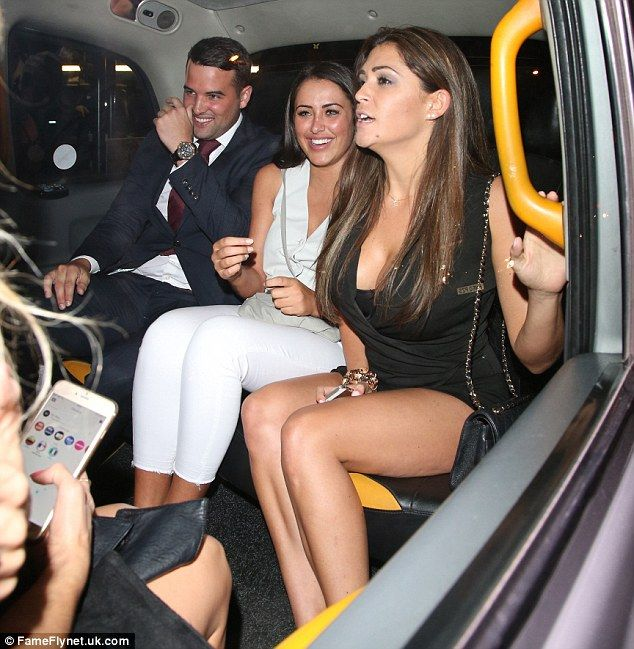 Three's not a crowd: Newly-engaged Ricky and Marnie jumped in a taxi with good friend Case...