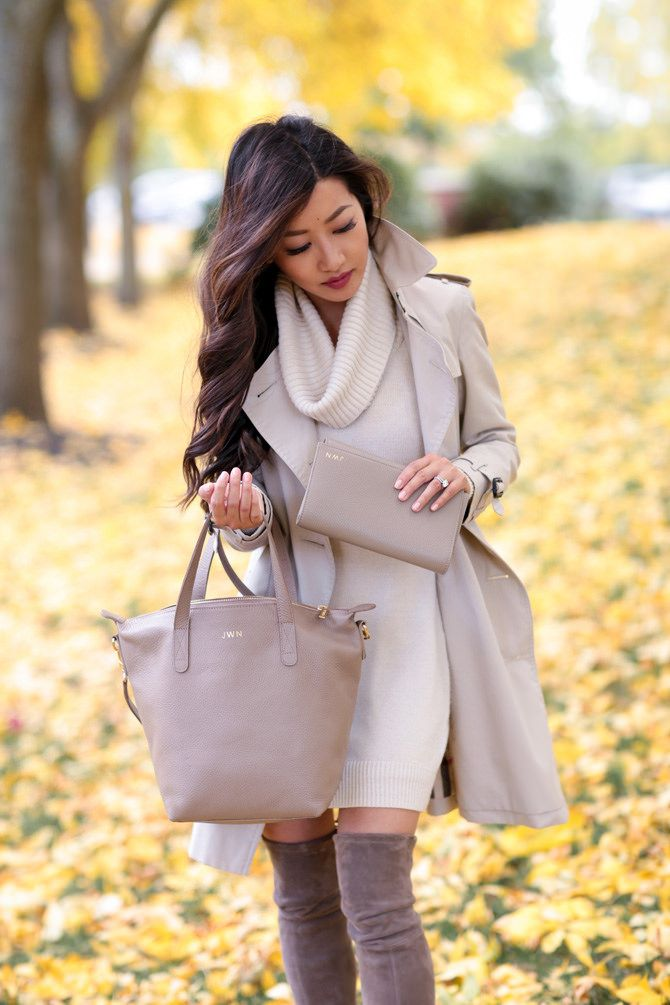 Cream taupe classic fall outfit burberry trench stuart weitzman boots