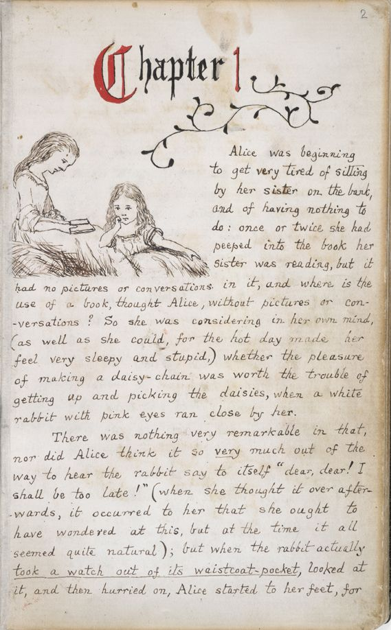 """Alice's Adventures Under Ground,"" original manuscript - written and illustrated by Lewis Carroll."