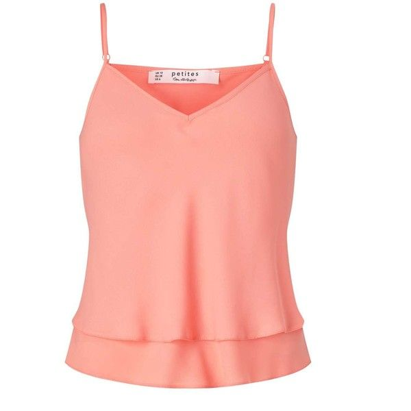 Miss Selfridge Petites Coral Cami Top ($28) ❤ liked on Polyvore featuring tops, coral, petite, petite tank tops, cami top, red top, layering tank tops and coral tank