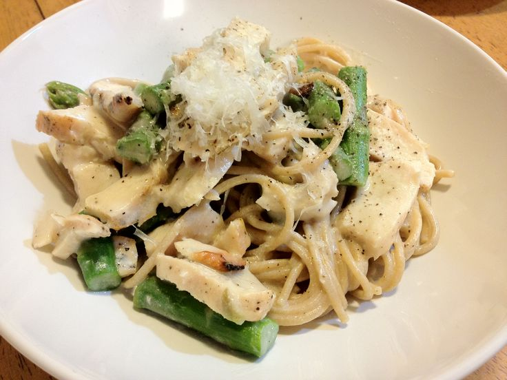 Chicken, Asparagus and Goat Cheese Pasta--- uh... the best three ...