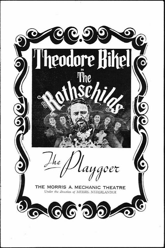 """Theatre Programme for the Premiere Baltimore Production of the Jerry Bock / Sheldon Harnick musical """"The Rothschilds,"""" which performed from October 23 thru November 11, 1972 at the Morris M. Mechanic Theatre (demolished in 2014, this theatre was located at One North Charles Street). Theodore Bikel, C. David Colson, Sandra Thornton, Carol Fox Prescott, Richard Kline, and John Remme starred in the production."""