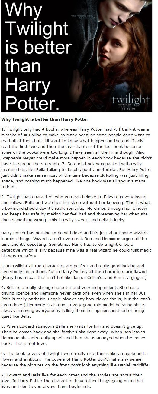 Anyone remember Twilight mania? Here is one of my all time favorite comparisons: a satire about why Twilight is better than HP Puresunshine.ca, The Fandom Shop! Click here for Harry Potter Themed Quizzes & Articles! See the Fandom Shop Here.