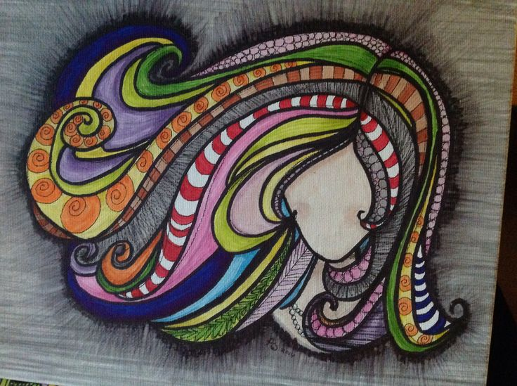 Zentangle girl 2 - Promarkers on canvas