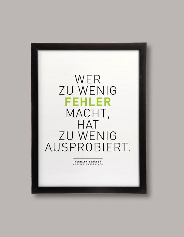 """Poster mit Spruch """"Wer zu wenig Fehler macht"""" / print with quote by BarbsHome via DaWanda.com"""