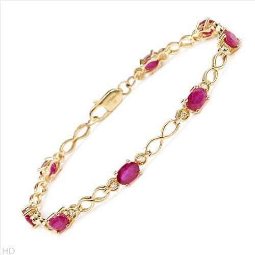 $719.00  Terrific Brand New Bracelet With 5.36ctw Precious Stones - Genuine  Diamonds and Rubies Beautifully Crafted in Yellow Gold. Total item weight 6.5g  Length 8in - Certificate Available.