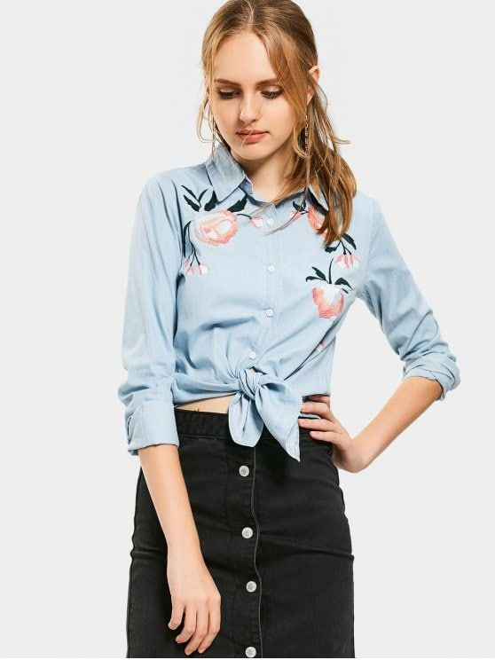 Floral Embroidered Button Up Chambray Shirt - CLOUDY S