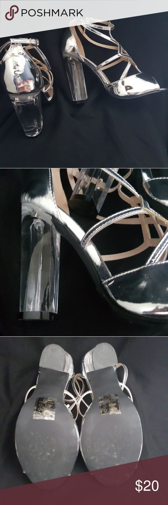 Shoe Silver Strappy Sandal Patent Glossy turn and lock ankle strap. 4 1/2 inch stiletto and low 1/2 inch platform manmade upper Shoe Republic LA Shoes Heels