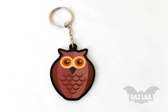 Animal Keychain from wood Owl keychain Animal lovers by BatLab