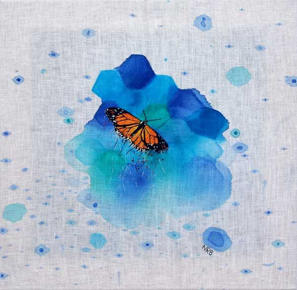 Butterfly Breakdown - Embroidery and paint on linen by Ngaio Blackwood