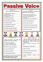 Students are given the form and usage on the passive voice - example of sentence transformation included. For the PRESENT SIMPLE there are 2 exercises - gap-filling + rephrasing. For the PAST SIMPLE there are two as well - rephrasing + matching with pictures. Greyscale and key included. - ESL worksheets