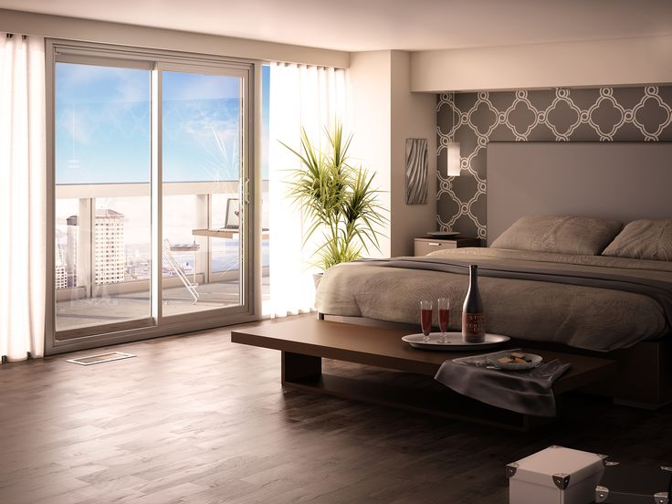 Modern grey and white bedroom with view on the city.