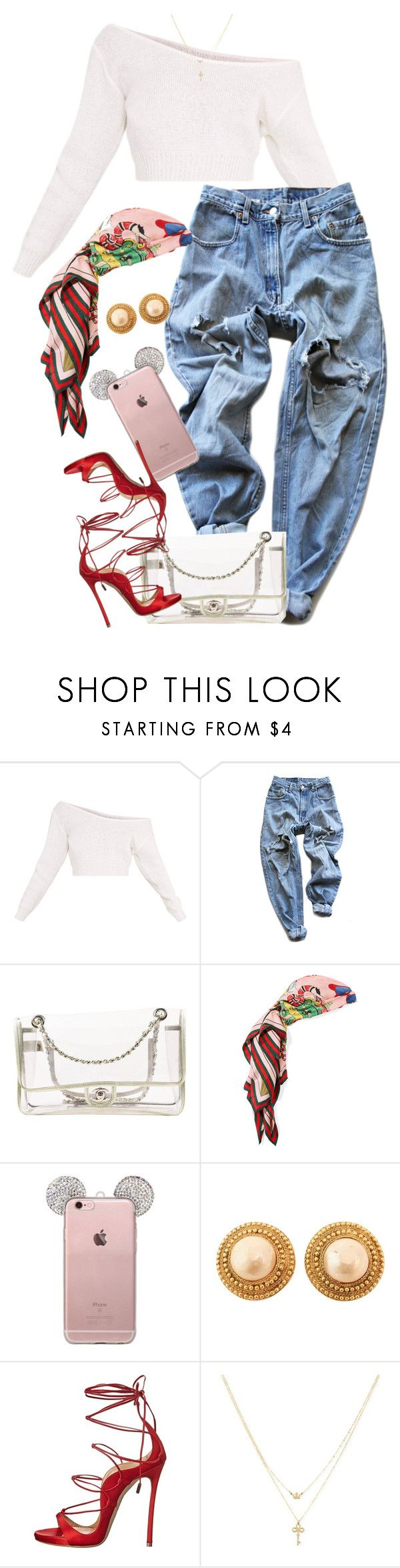 """""""Untitled #1625"""" by power-beauty ❤ liked on Polyvore featuring Levi's, Chanel, Gucci, Dsquared2 and Betsey Johnson"""