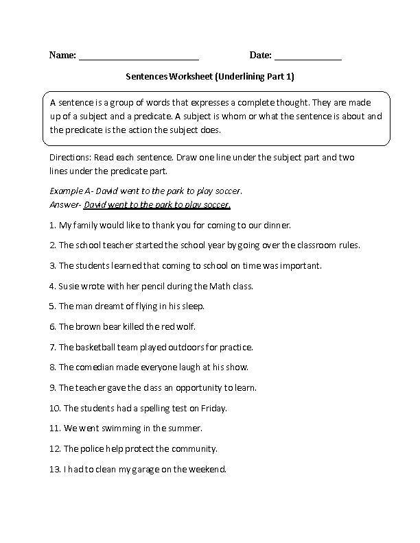 Underlining Simple Sentences Worksheet