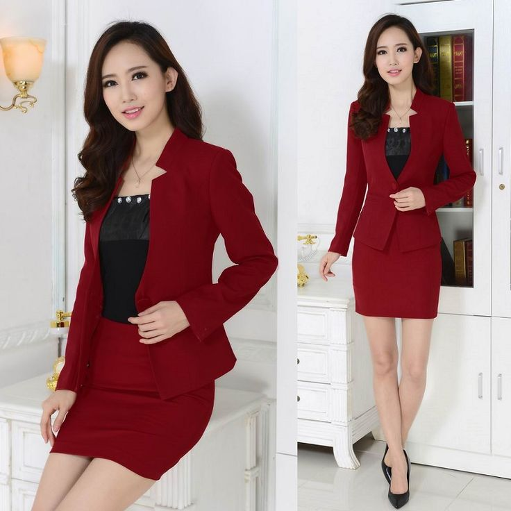 New 2015 Autumn Winter Formal Red Blazer Women Suits with Skirt and Jacket Sets Terno Feminino Ladies Office Uniform Style