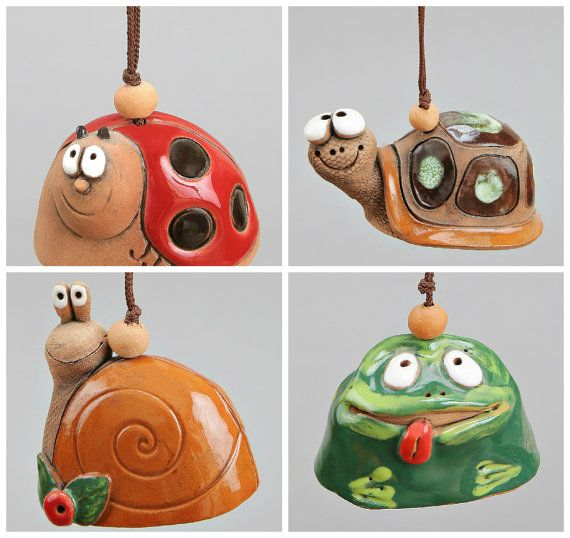 Small Ceramic Bells: Lady-Bird, Frog, Snail, Turtle. Scool Accessory, Christening Souvenir, Children Toy.