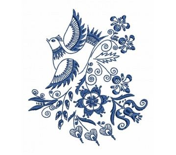 Výšivka Vajnory vtáčik, 10x12 cm