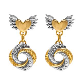 Iconic Sophie Harley London Chubby winged hearts with mini loveknot drop earrings in silver with gold plated detail.