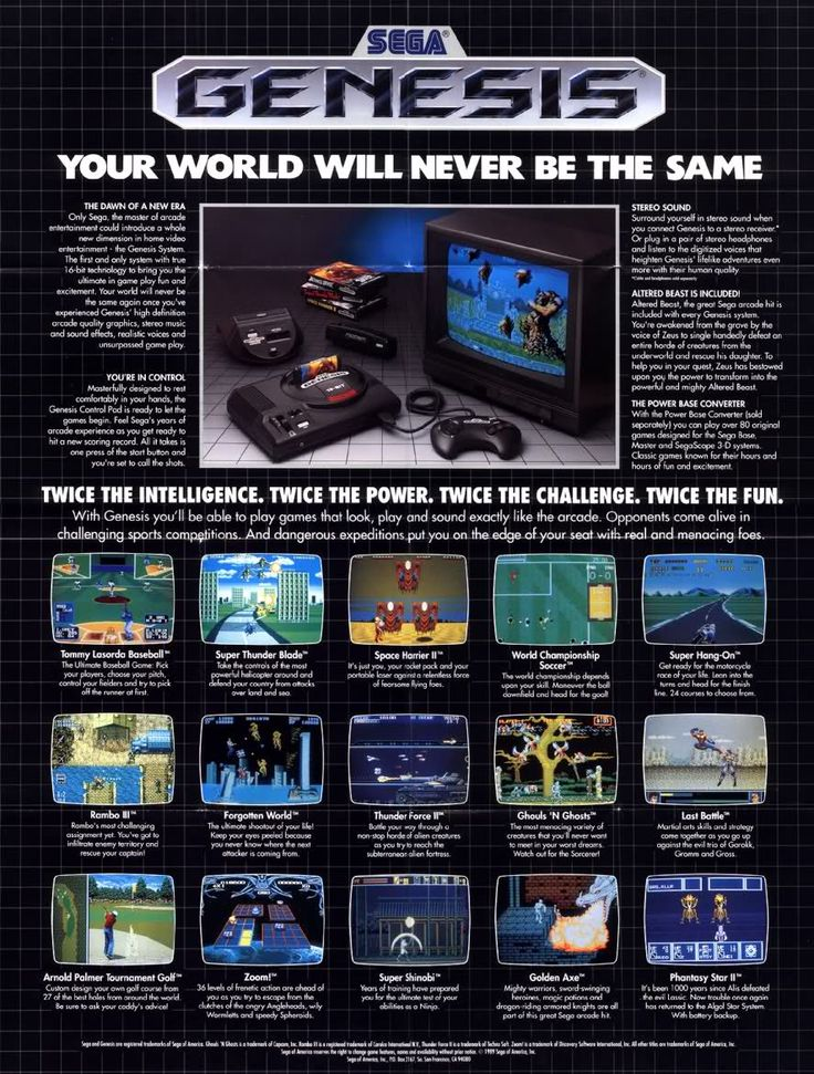 Magazine ad for Sega Genesis 1989.