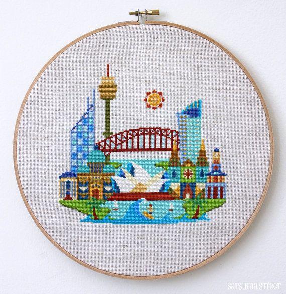 Pretty Little Sydney - Modern Cross stitch by SatsumaStreet on Etsy