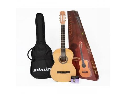 Admira Alba 3/4 Classical Guitar Pack - BC Wholesalers. A combination of warm, full tone and low price tag makes this an ideal beginner instrument. Made in China by Spanish-trained luthiers. The Alba Package is supplied in a colourful carton with bonus tuner and custom gig bag.