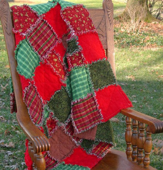 Christmas Rag Quilt Throw Red Green by ZitiZoo on Etsy