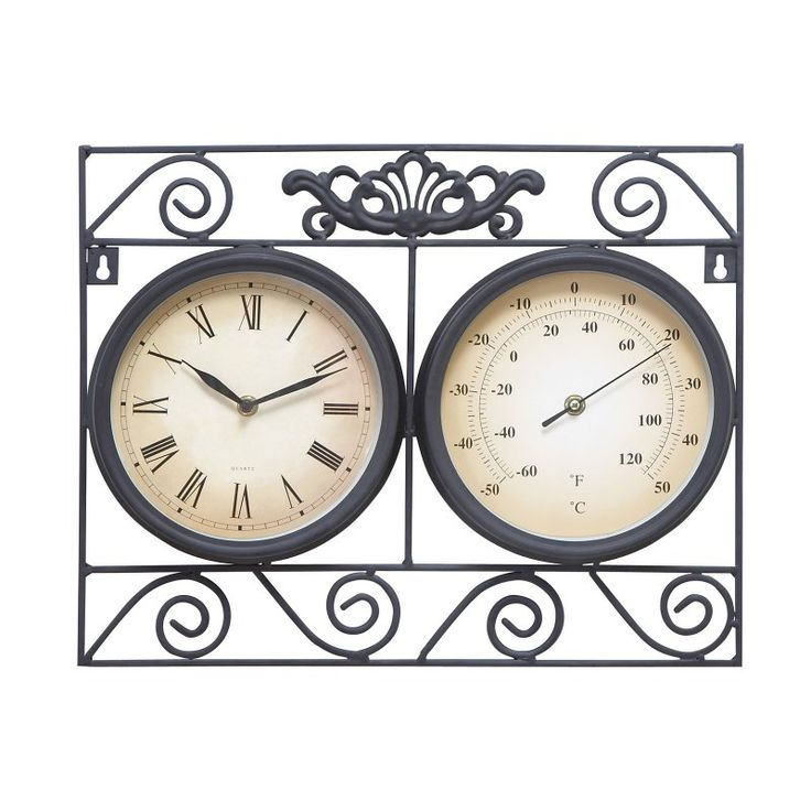 DecMode Square Metal Outdoor Wall Clock and Thermometer - 35417