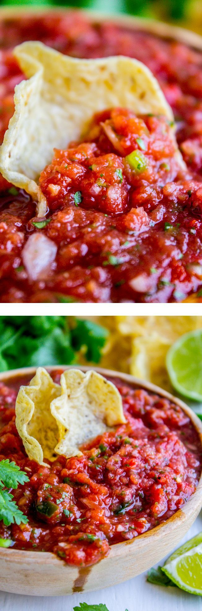 5 Minute Restaurant Style Salsa and How to Host Taco Tuesday from The Food Charlatan. Why do we buy canned salsa? Whyyy?? It takes 5 minutes to throw together this recipe, and it really does taste like it's from a restaurant. Also, scroll down to read how our family has been hosting Taco Tuesdays all summer, and how you can too! It's such a fun way to entertain in the summer, and so easy!