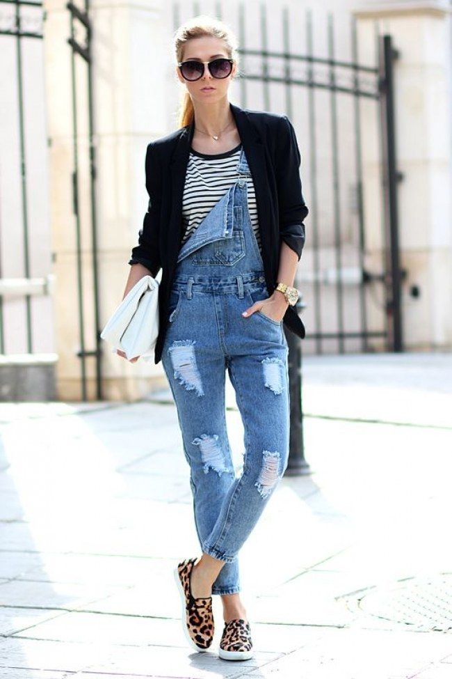 Denim overalls, striped tee, black blazer, sunnies, gold watch, gold necklace with small round disk, purse and leopard print slip on flats.