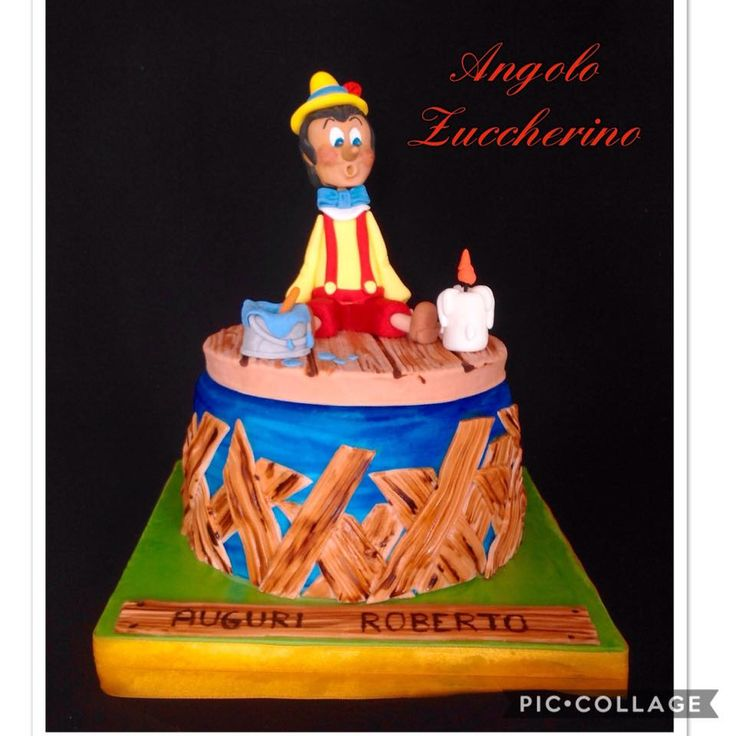 Pinocchio!!! Pan di spagna con crema chantilly e gocce di cioccolato con decori in pasta di zucchero