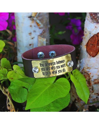 "Different Is Awesome Holiday Package: Women's Quote Cuff ""The Difference Between You And Who You"