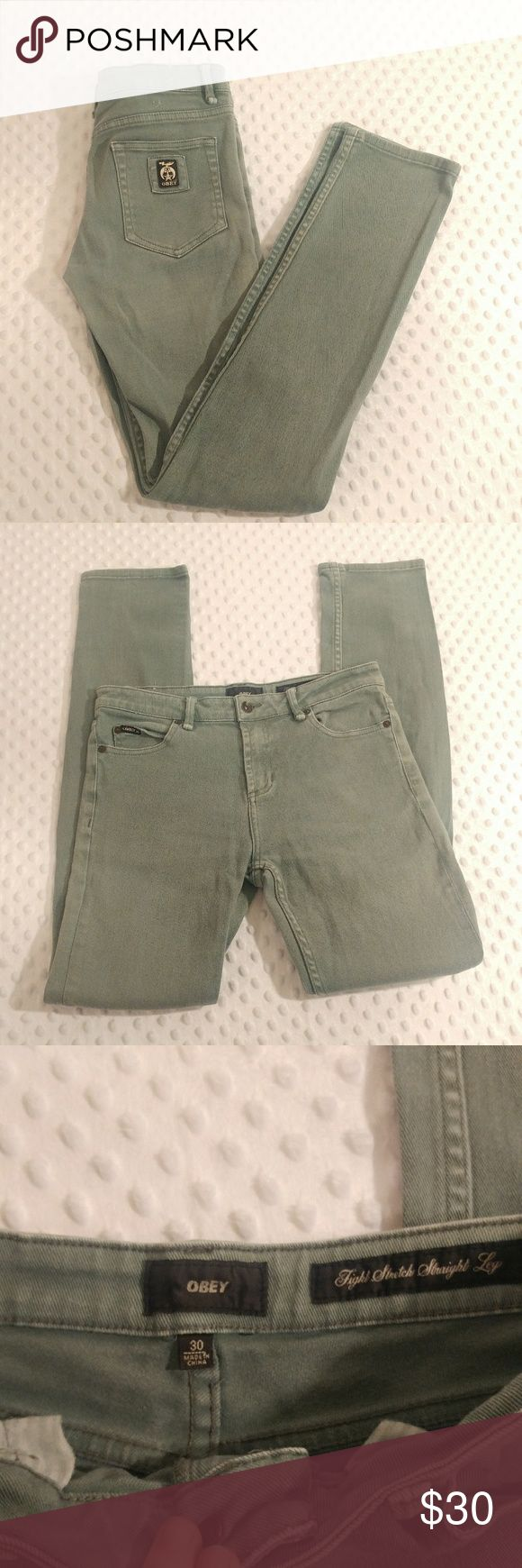 """OBEY men's skinny jeans OBEY (Tight Stetch Straight Leg) skinny/straight legged jeans (6"""" leg opening). Size 30  Waist 30""""  Rise 9.5""""  Inseam 32""""  *jeans are modeled on a female form Obey Jeans Skinny"""