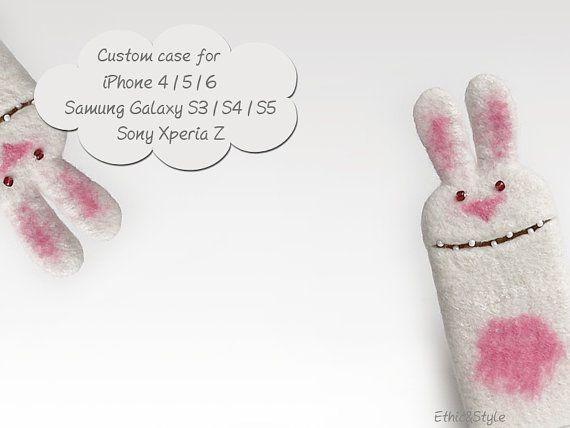 Bunny felt case, handmade phone case, eco-friendly case, cases for iPhone 4/5, for iPhone 6/6 Plus, for Galaxy  S3/S4/S5