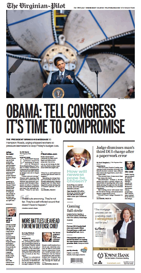 Obama visits Newport News to talk about the upcoming sequester cuts. The Virginian-Pilot's front page for Wednesday, Feb. 27, 2013.