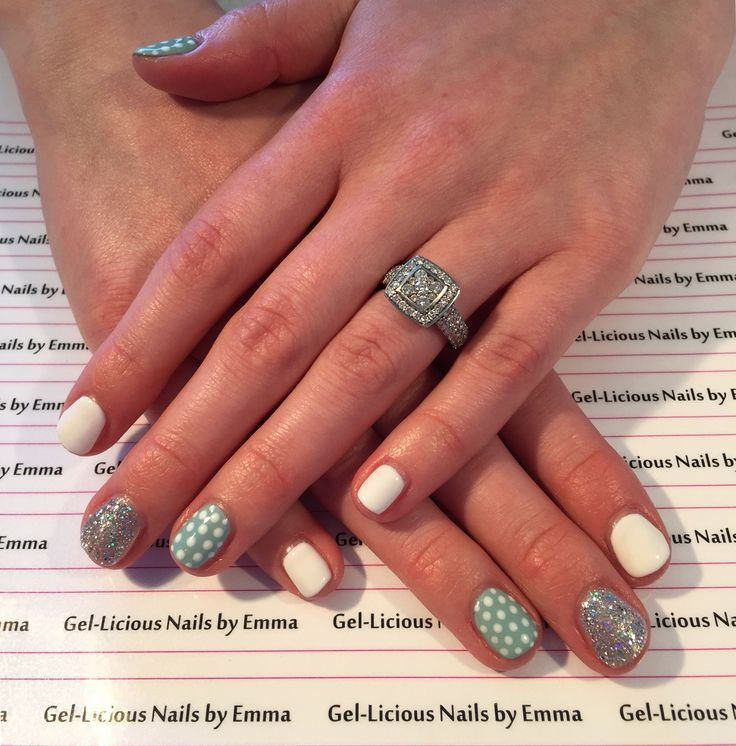 Gelish nails in 'Seafoam, Am I making you Gelish and Sleek White' (Gel-licious Nails by Emma)