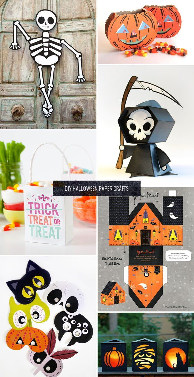 a roundup of fun and spooky diy halloween paper decoration and party ideas with free printable templates for many of the projects