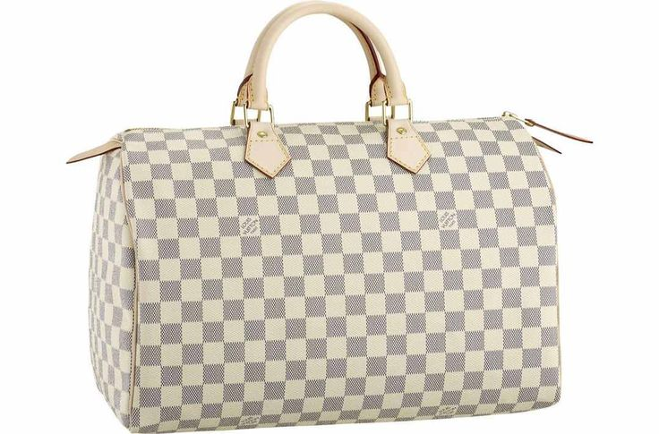 Ive always wanted a Louis Vuitton Speedy 35 cream/gray handbag, one day!