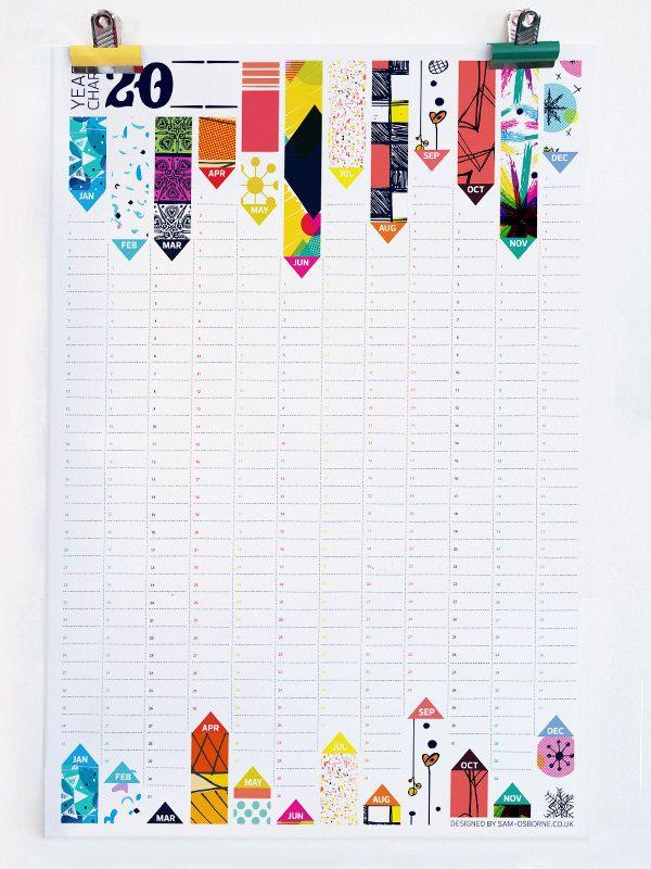 Calendar Wall Planner Perpetual Office Organiser Pattern Reversible Design HG Wells Quote. £15.00, via Etsy.