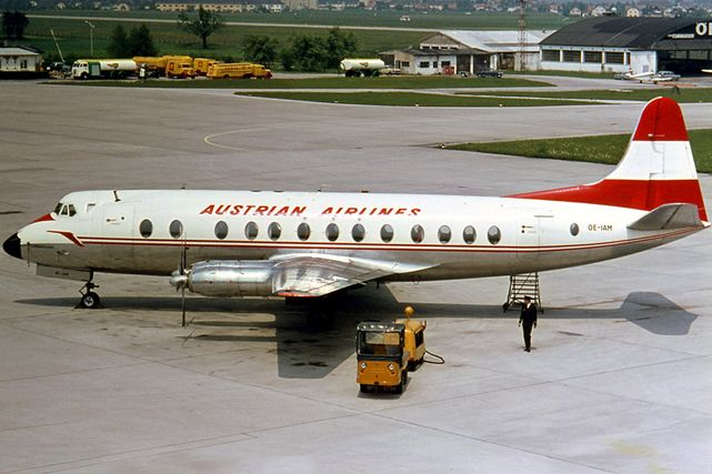 OE-IAM - Austrian Air Transport - April 1964 to April 1970  Leased from AUA - Austrian Airlines and re-registered. Taken at Salzberg, Austria in June 1967. Note that it was operated in the full AUA - Austrian Airlines livery.  Photo source - Ralf Manteufel