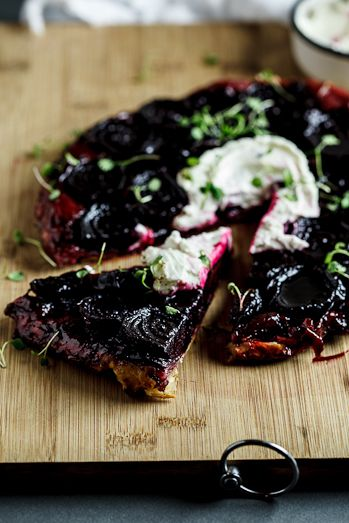 Beetroot Tarte Tatin with Goats cheese cream