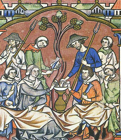 Cap of St Birgitta  Ruth dines with Boaz, The Maciejowski Bible, 13th century: Several men wear hoods, pulled back, with center-seamed white linen coifs covering their heads.  http://www.larsdatter.com/hoods.htm