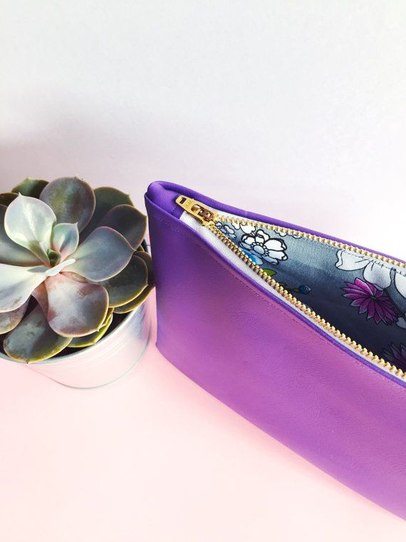 Purple Leatherette Floral Lined Pouch by FantasticCraftyFox