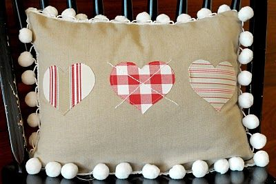 love this cute heart pillow - especially the pom poms!