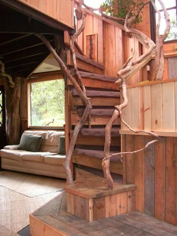 Artfully designed stairway to loft at Hawaii Volcano treehouse. | Tiny Homes