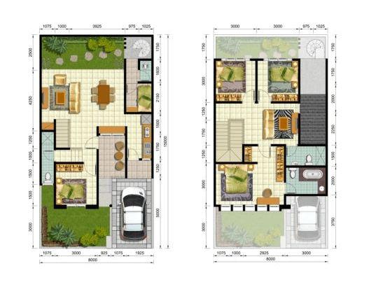 Sketsa Rumah 3 kamar Tidur 2 Lantai