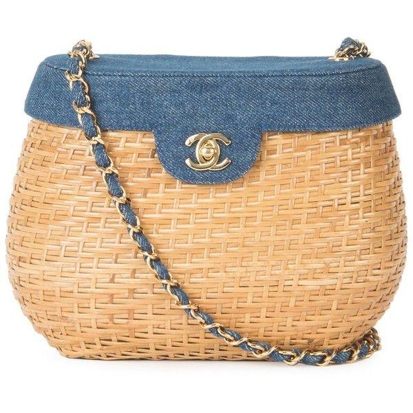 Pre-owned Chanel Vintage denim basket crossbody bag ($10,090) ❤ liked on Polyvore featuring bags, denim purse, chain shoulder bag, chanel shoulder bag, beige handbags and vintage cross body purse